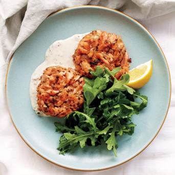 Lemon Arugula Salmon Cake with Gremolata